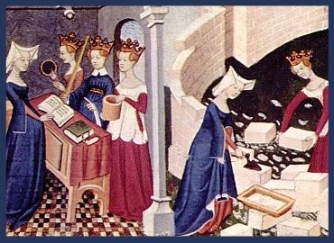 Medieval Drawing of Noble Ladies Learning and Working Together