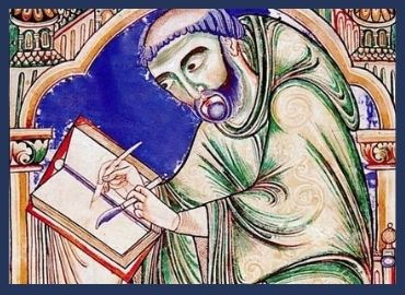 Medieval Picture of Eadwine the Scribe Writing