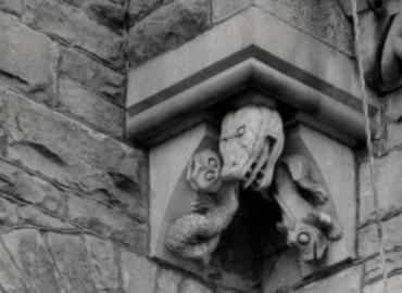 Gargoyle carved like an alligator