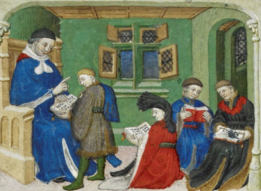 Medieval drawing of Aristotle teaching students