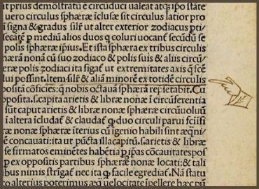 Latin Text with Hand Pointing