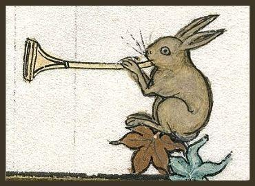 Medieval drawing of rabbit blowing trumpet