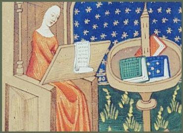 Medieval Woman Writing at Desk