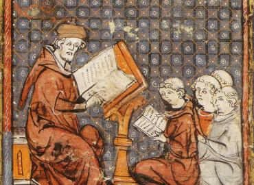 Medieval drawing of man teaching students