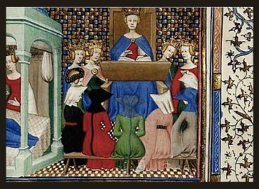Medieval Illumination Depicting a Woman with a Crown Teaching Other Women