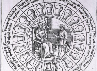 Medieval drawing of a urine wheel