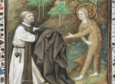 Man in religious clothing and woman in hairshirt