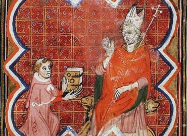 Medieval illustration of Peter Comestor presenting his book to an archbishop