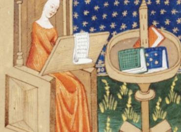 Royal woman writing at desk