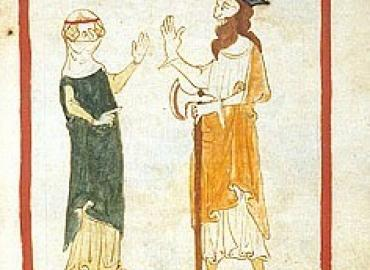 Medieval drawing of a woman in a veil and a man in a hat